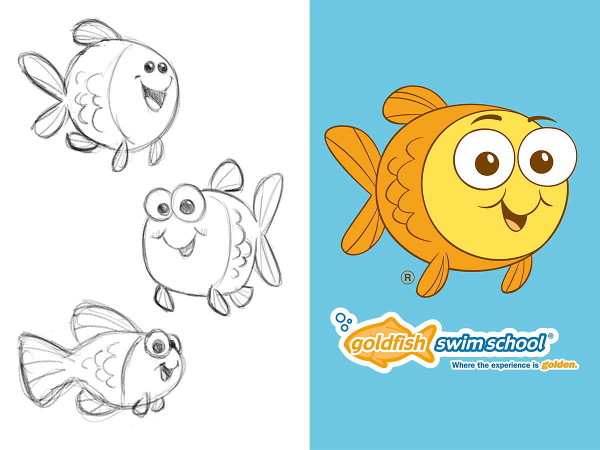 Mascot character designs for Goldfish Swim School