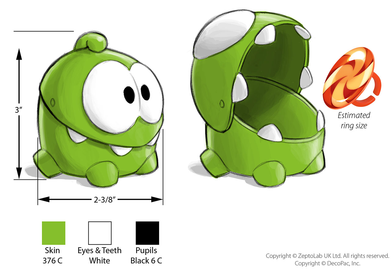 Concept sketch by Cedric Hohnstadt of 'Cut The Rope' cake topper toy for DecoPac, Inc. Copyright © 2013 ZeptoLab UK Ltd. and DecoPac, Inc. All rights reserved.
